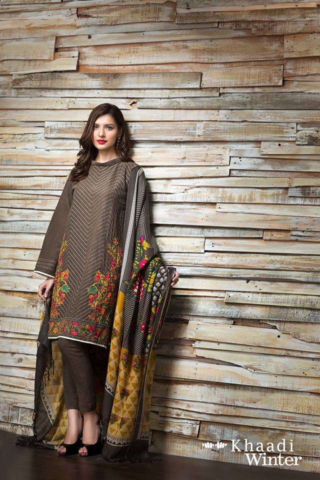 0acf63167 Khaadi Winter Dresses With Shawl For Fall Winter 2016-17 - PK Vogue