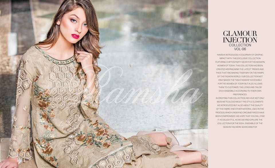 7c2ecdd321 Buy Online Ramsha Embroidered Chiffon Collection 2017 Vol-6 - PK Vogue