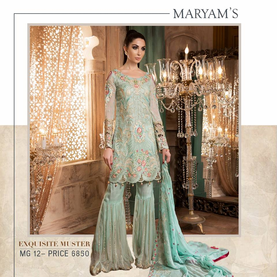 fbb5697c87 Maryam's Gold Embroidered Chiffon Collection 2018 – Online Shopping ...